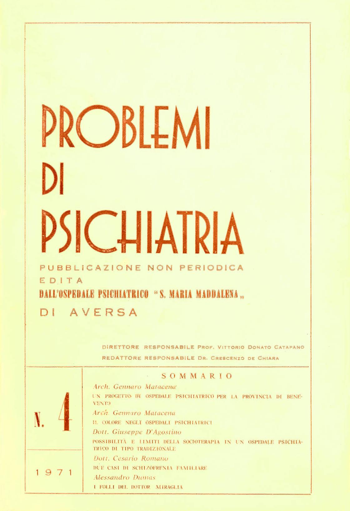 Problemi di psichiatria n°4, 1971
